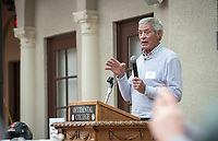 Jim Mora '57<br /> Occidental College alumni, staff and other members of the Oxy community gather in support of the football program, March 10, 2018 on Branca Patio.<br /> In January 2018 a 16-member task force of trustees, faculty, students, staff and alumni met to determine the fate of the football program in the wake of the premature end of the 2017 season. The College is moving full speed ahead with preparations for the 2018 season, led by the Football Action Team.<br /> (Photo by Marc Campos, Occidental College Photographer)