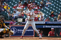 Peyton Graham (20) of the Oklahoma Sooners at bat against the Missouri Tigers in game four of the 2020 Shriners Hospitals for Children College Classic at Minute Maid Park on February 29, 2020 in Houston, Texas. The Tigers defeated the Sooners 8-7. (Brian Westerholt/Four Seam Images)