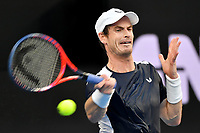 January 14, 2019: Andy Murray in action in the first round match against 22nd seed Roberto Bautista Agut on day one of the 2019 Australian Open Grand Slam tennis tournament in Melbourne, Australia. Photo Sydney Low