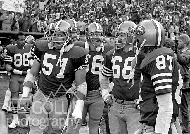 San Francisco 49ers vs.Dallas Cowboys at Candlestick Park Sunday, January 10. 1982..49ers beat Cowboys 28-27 for Conference Championship..List of players (88) Freddie Solomon, (51) Randy Cross, (56) Fred Quillan, (68) John Ayers and (87) Dwight Clark...Photo By Al Golub/Golub Photography.