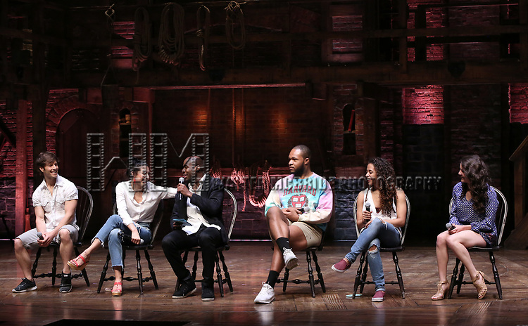 "Thayne Jasperson, Lauren Boyd, Justin Dine Bryant, Sean Green Jr., Sasha Hollinger and Lexi Garcia during a Q & A before The Rockefeller Foundation and The Gilder Lehrman Institute of American History sponsored High School student #eduHam matinee performance of ""Hamilton"" at the Richard Rodgers Theatre on May 9, 2018 in New York City."