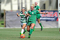 8 November 2015:  Marshall Midfielder Kelly Culicerto (6) and North Texas Forward Taylor Torres (8) battle over the ball in the first half as the Marshall University Thundering Herd faced the University of North Texas Mean Green in the Conference USA championship game at University Park Stadium in Miami, Florida.
