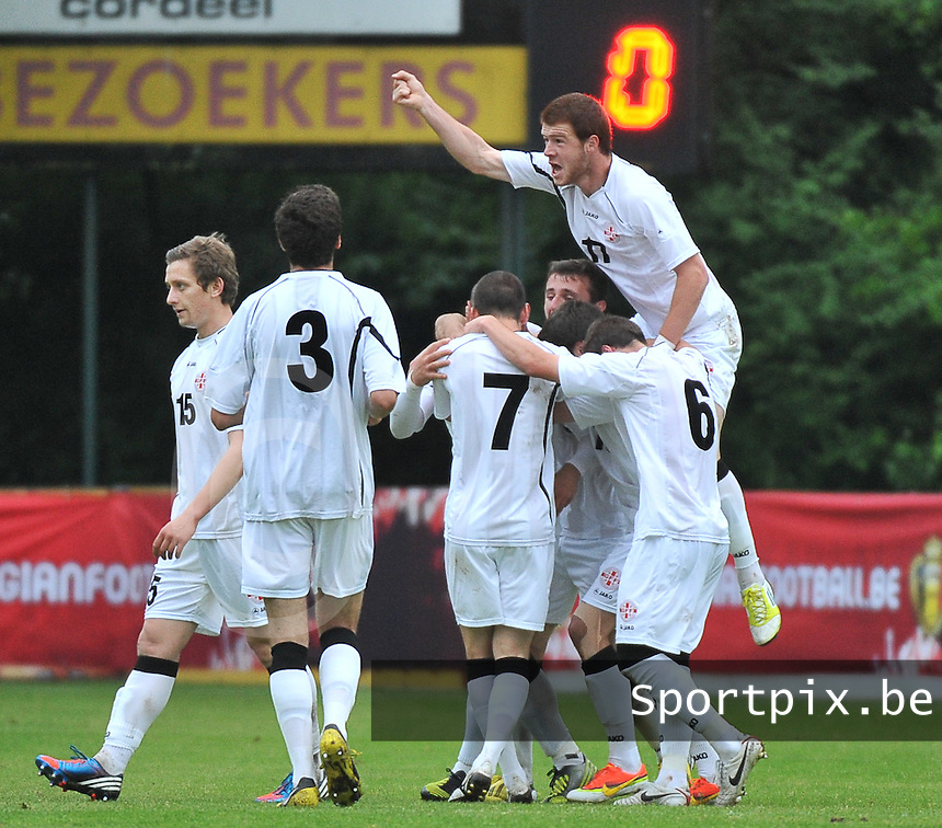 Georgia U19 - Belgium U19 : Georgian team celebrates their goal<br /> foto DAVID CATRY / Nikonpro.be