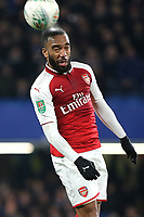 Alexandre Lacazette of Arsenal heads the ball upfield during Chelsea vs Arsenal, Caraboa Cup Football at Stamford Bridge on 10th January 2018