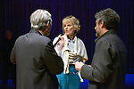 MIAMI, FL - FEBRUARY 21: Author Paul Auster, Siri Hustvedt and Mitchell Kaplan onstage before performing during An Evening with Paul Auster & friends! MUSIC, MAGIC & THE MUSE: for his latest novel, '4 3 2 1' features Singer Sophie Auster at Adrienne Arsht Center - Knight Concert Hall on February 21, 2017 in Miami, Florida. ( Photo by Johnny Louis / jlnphotography.com )