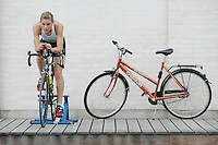 29 JUN 2007 - COPENHAGEN, DEN - British Junior Hollie Avil does a turbo session outside the team hotel - European Triathlon Championships. (PHOTO (C) NIGEL FARROW).