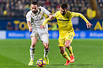 Daniel Carvajal Ramos (l) of Real Madrid battles for the ball with Bojan Jokic of Villarreal CF during their La Liga match between Villarreal CF and Real Madrid at the Estadio de la Cerámica on 26 February 2017 in Villarreal, Spain. Photo by Maria Jose Segovia Carmona / Power Sport Images