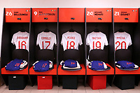 The England U21 shirts of Hamza Choudhury, Callum Connolly, Tom Pearce, Edward Nketiah and Lukas Nmecha on display in their dressing room ahead of kick-off during Mexico Under-21 vs England Under-21, Tournoi Maurice Revello Final Football at Stade Francis Turcan on 9th June 2018