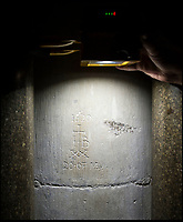 BNPS.co.uk (01202 558833)<br /> Pic: PhilYeomans/BNPS<br /> <br /> A very well executed bit of graffiti from 20th May 1620 by a merchant 'JB'.<br /> <br /> Salisbury Cathedral has taken the unusual step of launching 'Grafitti Tours' of it's 800 year old building, as part of a three year project to document the thousands of examples of centuries-old 'graffiti' which adorn the walls of the 13th century cathedral.<br /> <br /> The inside of the Cathedral in Wiltshire is covered in markings etched into its fabric by fervent, desperate or just bored visitors ranging from simple inscriptions to more intricate designs used to ward off evil spirits.  <br /> <br /> Cathedral guide Steve Dunn intends to record all the marks or 'graffiti' which in some cases date back from when the cathedral was completed in 1258.<br /> <br /> Helped by about 60 volunteers, he is collating images of the graffiti and researching the story behind them.
