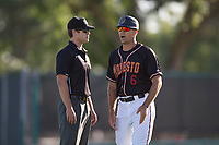 Modesto Nuts manager Mitch Canham (6) argues a call with field umpire Zach Neff during a California League game against the San Jose Giants at John Thurman Field on May 9, 2018 in Modesto, California. San Jose defeated Modesto 9-5. (Zachary Lucy/Four Seam Images)