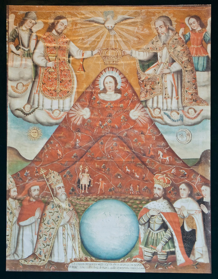 An early painting depicting the great wealth of Potosí and the Cerro Rico.  Evidenced is a mixture of Catholic and indigenous cosmology.