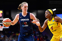 Washington, DC - Aug 8, 2019: Washington Mystics center Emma Meesseman (33) guarded by Indiana Fever forward Stephanie Mavunga (23) during 2nd half action of game between the Indiana Fever and the Washington Mystics. The Mystics defeat the Fever 91-78 at the Entertainment & Sports Arena in Washington, DC. (Photo by Phil Peters/Media Images International)