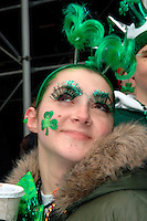 Robin Minor age 18, from Greenport, NY sports green eyelashes.  246th Saint Patrick's Day Parade,  marches up 5th Avenue,  March 17, 2007.  (© Frances Roberts)