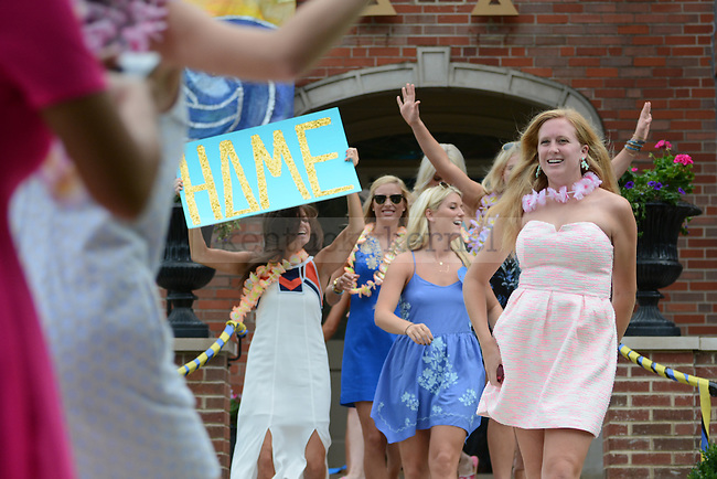 Delta Delta Delta sisters welcome new bids during Bid Day in Lexington, Ky., on Friday, August 22, 2014. Photo by Caleb Gregg | Staff