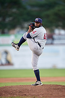 Mahoning Valley Scrappers relief pitcher Felix Tati (49) delivers a pitch during a game against the Batavia Muckdogs on August 16, 2017 at Dwyer Stadium in Batavia, New York.  Batavia defeated Mahoning Valley 10-6.  (Mike Janes/Four Seam Images)