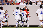 11 March 2008: Teammates congratulate Hendry Thomas (HON) (20) on his game-winning goal. The Honduras U-23 Men's National Team defeated the Panama U-23 Men's National Team 1-0 at Raymond James Stadium in Tampa, FL in a Group A game during the 2008 CONCACAF's Men's Olympic Qualifying Tournament.
