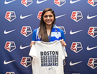 #34 overall pick Kim DeCesare of the Boston Breakers poses during the NWSL draft at the Pennsylvania Convention Center in Philadelphia, PA, on January 17, 2014.