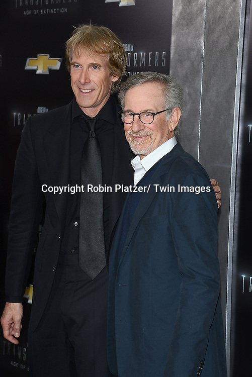 "Michael Bay and Steven Spielberg attends the US Premiere of ""Transformers: Age of Extinction"" on June 25, 2014 at The Ziegfeld Theatre in New York City, New York, USA."