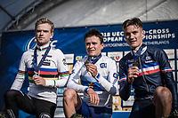 Men U23 podium:<br /> <br /> 1st place: Thomas Pidcock (GBR) <br /> 2nd place: Eli Iserbyt (BEL)<br /> 3th place: Antoine Benoist (FRA)<br /> <br /> <br /> UEC CYCLO-CROSS EUROPEAN CHAMPIONSHIPS 2018<br /> 's-Hertogenbosch – The Netherlands<br /> Men U23 Race