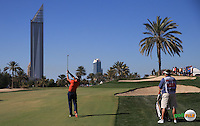 Joost Luiten (NED) plays second shot to the 12th during the Final Round of the 2016 Omega Dubai Desert Classic, played on the Emirates Golf Club, Dubai, United Arab Emirates.  07/02/2016. Picture: Golffile | David Lloyd<br /> <br /> All photos usage must carry mandatory copyright credit (&copy; Golffile | David Lloyd)
