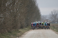 complete peloton hits the first gravel sector<br /> <br /> 11th Strade Bianche 2017