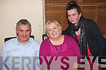 5796-5801.---------.Three's company.---------------.Stephan and Ita O'Brien, Ballymac pictured here with their daughter Aishlinn at their 15th wedding anniversary celebration last Friday night at Cassidy's restaurant the Abbey Tralee.