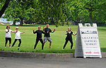 Tai Chi class in progress as part of the Health Day theme, at the Saugerties Farmer's Market on Main Street in the Village of Saugerties, NY, on Saturday, June 10, 2017. Photo by Jim Peppler. Copyright/Jim Peppler-2017.