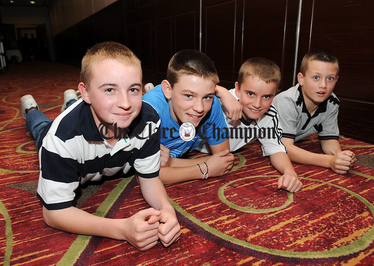 Shane Mc Inerney, Brandon Klein, Diarnmuid Quinn and Tiernan Agnew of Sixmilebridge-Kilmurry  at the Clare Community Games All Star Awards night at the West County Hotel, Ennis. Photograph by John Kelly.