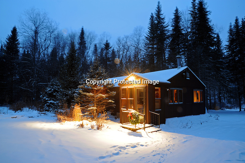 Christmas Lights Glow at Woodland Cottage in Rural Marlow, New Hampshire