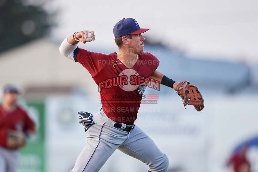 Mahoning Valley Scrappers third baseman Nolan Jones (10) throws to first base during a game against the Batavia Muckdogs on August 30, 2017 at Dwyer Stadium in Batavia, New York.  Batavia defeated Mahoning Valley 5-1.  (Mike Janes/Four Seam Images)