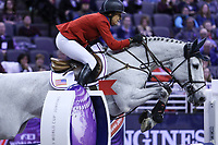 OMAHA, NEBRASKA - MAR 30: Laura Kraut rides Zeremonie during the FEI World Cup Jumping Final I at the CenturyLink Center on March 30, 2017 in Omaha, Nebraska. (Photo by Taylor Pence/Eclipse Sportswire/Getty Images)