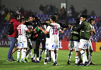 PASTO-COLOMBIA, 26-02-2020: Jugadores de Club Deportivo Huachipato (CHL), celebran la clasificación a la siguiente fase de la Copa Conmebol Sudamericana 2020 al vencer a Deportivo Pasto en partido jugado en el estadio Departamental Libertad de la ciudad de Pasto. / Players of Club Deportivo Huachipato (CHL), celebrate the classification to the next phase of the 2020 South American Conmebol Cup by beating Deportivo Pasto in a match played at the Departamental Libertad Stadium in Pasto city. / Photo: VizzorImage / Leonardo Castro / Cont