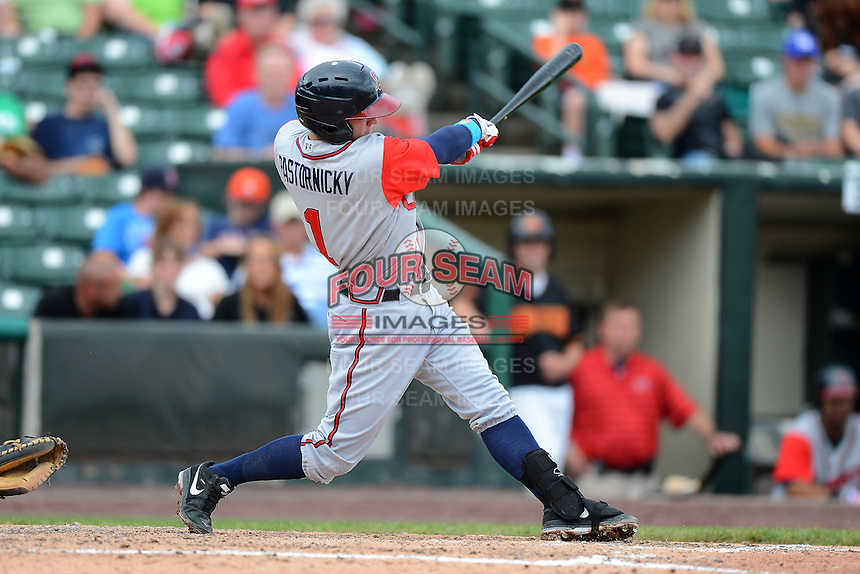 Gwinnett Braves second baseman Tyler Pastornicky #1 hits a home run during a game against the Rochester Red Wings on June 16, 2013 at Frontier Field in Rochester, New York.  Rochester defeated Gwinnett 6-3.  (Mike Janes/Four Seam Images)