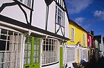 A3AAT3 Wooden framed colourful Tudor shop fronts Market Hill Woodbridge Suffolk