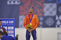 SPEED SKATING: SALT LAKE CITY: 20-11-2015, Utah Olympic Oval, ISU World Cup, Podium 1500m Men, winner Kjeld Nuis (NED), ©foto Martin de Jong