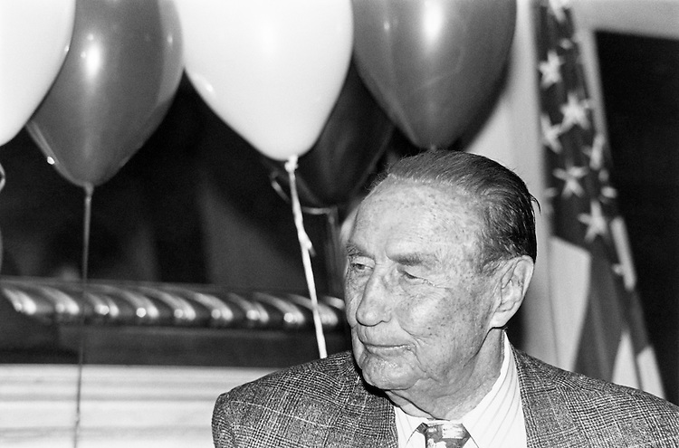 Sen. James Strom Thurmond, R-S.C., celebrating his 89th birthday at a party.  About 40 members of staff were present, along with old friends. December 6, 1991 (Photo by Maureen Keating/CQ Roll Call)