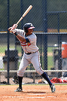 GCL Braves second baseman Jared Cruz (13) at bat during the second game of a doubleheader against the GCL Yankees 1 on July 1, 2014 at the Yankees Minor League Complex in Tampa, Florida.  GCL Braves defeated the GCL Yankees 1 by a score of 3-1.  (Mike Janes/Four Seam Images)