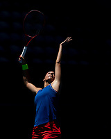 8th November 2019; RAC Arena, Perth, Western Australia, Australia; Fed Cup by BNP Paribas Final Tennis, Australia versus France, Practice Day; Caroline Garcia of France serves during practise - Editorial Use