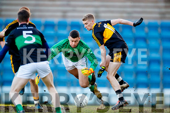 Gavin O'Shea Dr Crokes in action against Michael Aodh Martin Nemo Rangers in the Munster Senior Club Championship Final at Páirc Ui Rinn, Cork on Sunday.