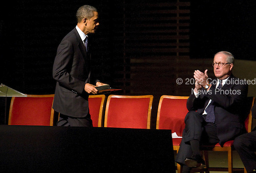 United States President Barack Obama speaks at the memorial service for Ambassador Richard Holbrooke held at the Kennedy Center in Washington, D.C. on Friday, January 14, 2011. Holbrooke passed away in December after undergoing surgery to repair a tear in his aorta. .Credit: Kristoffer Tripplaar  / Pool via CNP