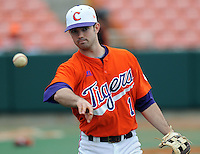 Clemson second baseman J.D. Burgess warms up prior to a game between the Clemson Tigers and Mercer Bears on Feb. 24, 2008, at Doug Kingsmore Stadium in Clemson, S.C. Photo by: Tom Priddy/Four Seam Images