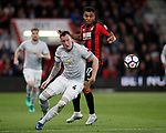 Phil Jones of Manchester United gets in front of Joshua King of Bournemouth during the premier league match at the Vitality Stadium, Bournemouth. Picture date 18th April 2018. Picture credit should read: David Klein/Sportimage