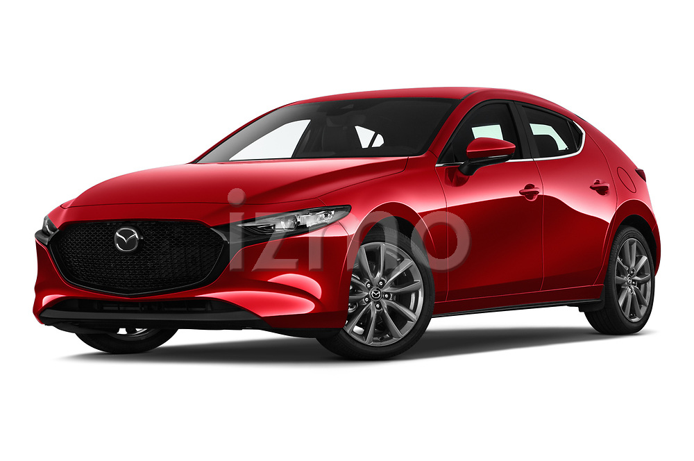 Stock pictures of low aggressive front three quarter view of 2019 Mazda Mazda3 Skydrive 5 Door Hatchback Low Aggressive