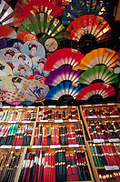 Souvenir shop display of chopsticks and fans,Tokyo, Japan