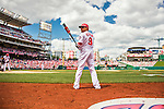 15 May 2016: Washington Nationals outfielder Ben Revere stands on deck during a game against the Miami Marlins at Nationals Park in Washington, DC. The Marlins defeated the Nationals 5-1 in the final game of their 4-game series.  Mandatory Credit: Ed Wolfstein Photo *** RAW (NEF) Image File Available ***