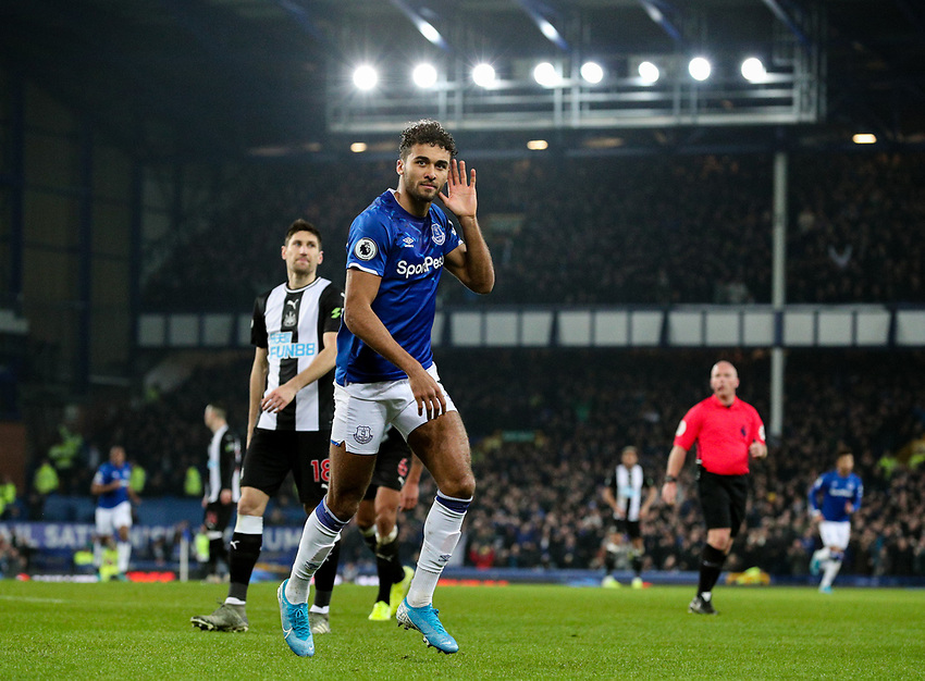 Everton's Dominic Calvert-Lewin celebrates scoring his side's second goal<br /> <br /> Photographer Alex Dodd/CameraSport<br /> <br /> The Premier League - Everton v Newcastle United  - Tuesday 21st January 2020 - Goodison Park - Liverpool<br /> <br /> World Copyright © 2020 CameraSport. All rights reserved. 43 Linden Ave. Countesthorpe. Leicester. England. LE8 5PG - Tel: +44 (0) 116 277 4147 - admin@camerasport.com - www.camerasport.com