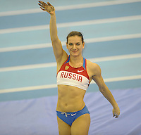Photo: Ady Kerry/Richard Lane Photography..Aviva Grand Prix. 21/02/2009. .Yelena Isinbayeva waves after winning the pole vault