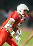 Lawndale, CA 09/26/14 - Austin Manigo (Lawndale #7) in action during the Palos Verdes Peninsula vs Lawndale CIF Varsity football game at Lawndale High School.  Lawndale defeated Peninsula 42-21