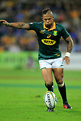 9th September 2017, nib Stadium, Perth, Australia; Supersport Rugby Championship, Australia versus South Africa; Elton Jantjies of the South African Springboks kicks for goal during the second half