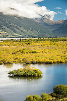 Wetlands at Glenorchy with Humboldt Mountains in background, Mount Aspiring National Park, Central Otago, New Zealand, NZ